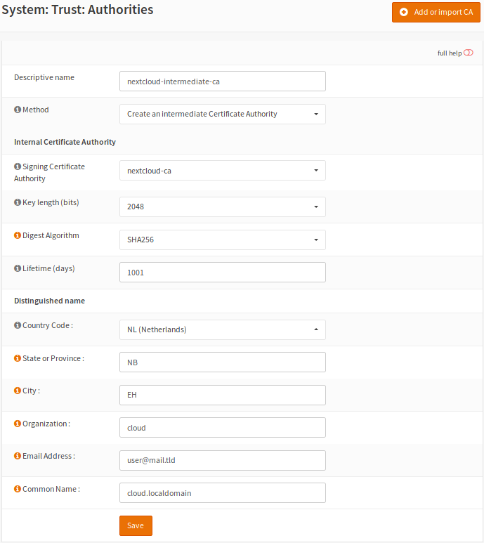 Setup Self-Signed Certificate Chains with OPNsense