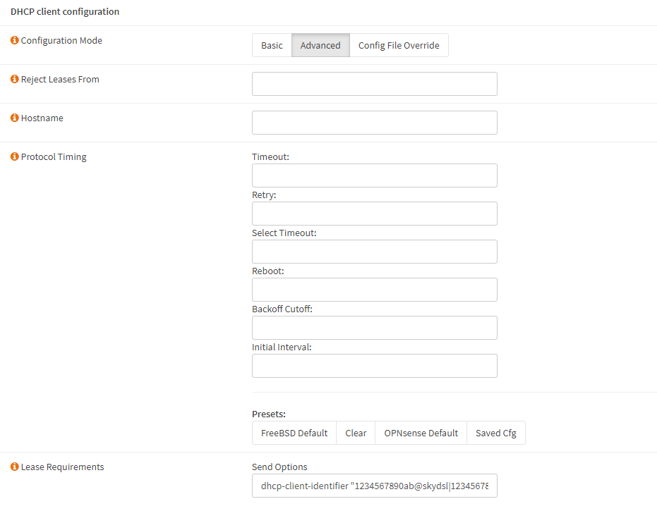 Setup for Sky UK ISP — OPNsense documentation